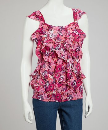 Pink Floral Gauze Sleeveless Top