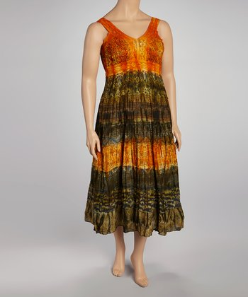 Green & Gold Tie-Dye Tiered Sleeveless Dress - Women