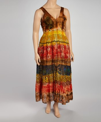 Brown & Gold Tie-Dye Tiered Sleeveless Dress - Plus