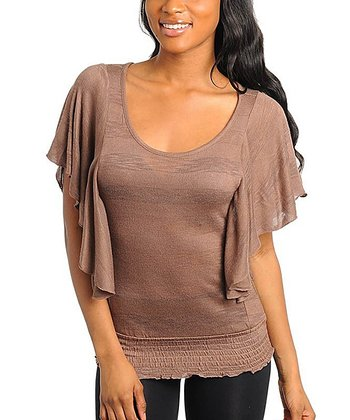 Mocha Smocked Angel-Sleeve Top - Women