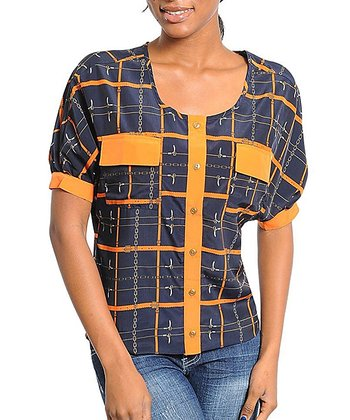 Navy & Orange Geo Square Scoop Neck Top
