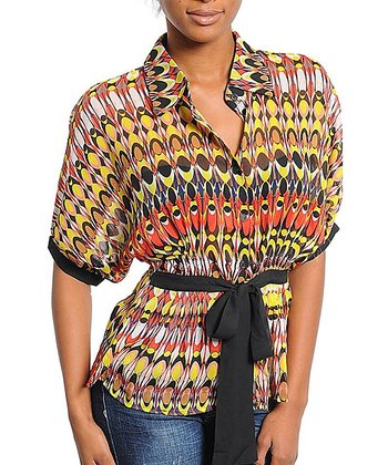 Yellow & Rust Abstract Tie-Waist Top - Women