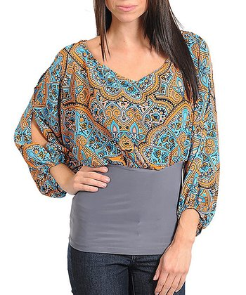 Peach & Blue Mehndi Cutout Top - Women