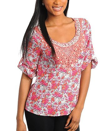 Coral & White Floral Crochet Scoop Neck Top - Women