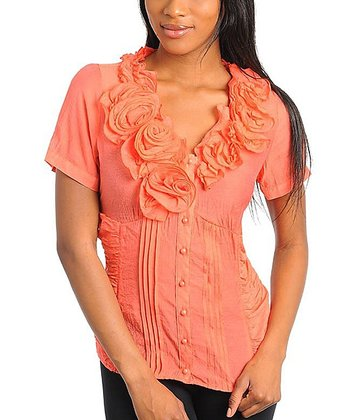Orange Rosette Pleated Top - Women
