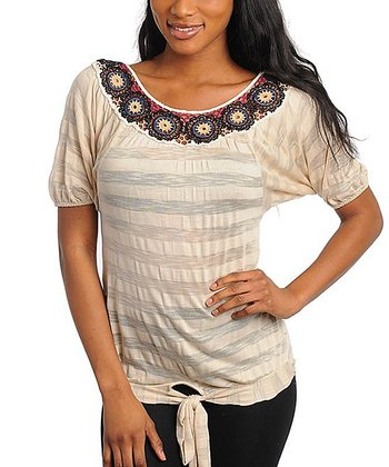Tan Stripe Crochet Short-Sleeve Top - Women