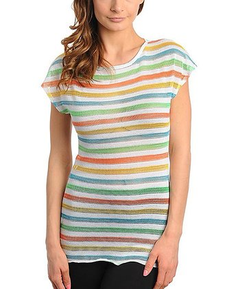 Green & Pink Stripe Cap-Sleeve Top - Women