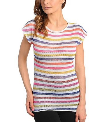 Pink & Yellow Stripe Cap-Sleeve Top - Women