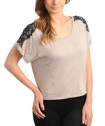 Mocha & Black Lace Shoulder Top - Women