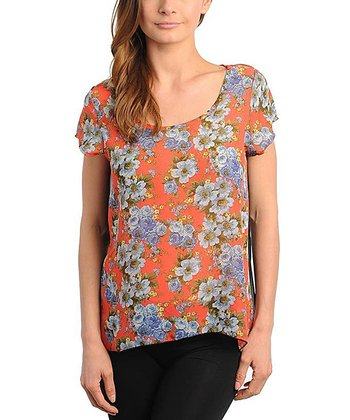Coral & Black Floral Sheer-Back Top - Women