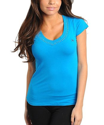 Turquoise Studded V-Neck Top - Women
