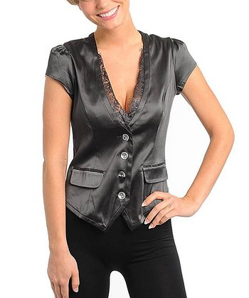 Charcoal Satin Blazer Button-Up Top - Women
