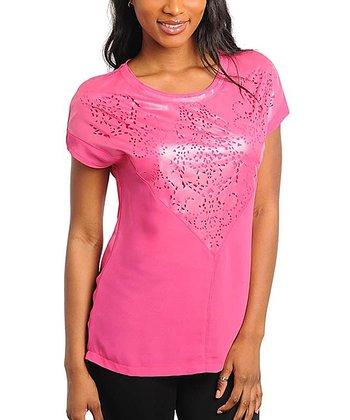 Pink Laser Cut Top - Women