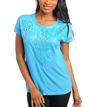 Blue Laser Cut Top - Women