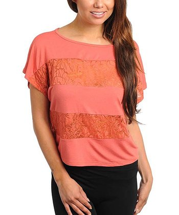 Orange Lace Panel Top - Women