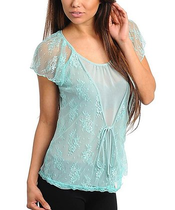 Aqua Lace Angel-Sleeve Top  - Women