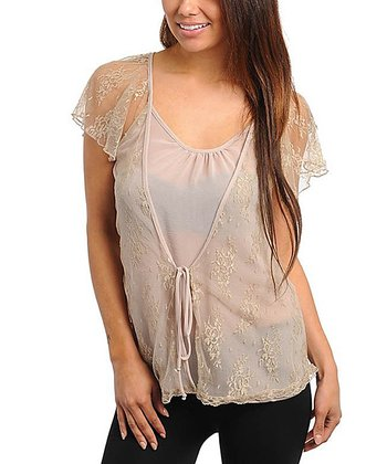 Tan Lace Angel-Sleeve Top - Women