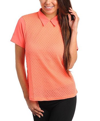 Neon Coral Textured Polo - Women