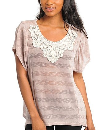 Sand Burnout Stripe & Crochet Scoop Neck Top  - Women