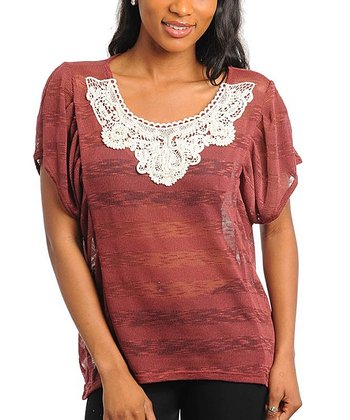Brown Burnout Stripe & Crochet Scoop Neck Top - Women