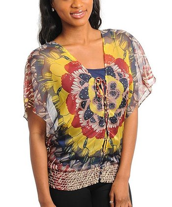 Yellow & Navy Abstract Lace-Up Top - Women