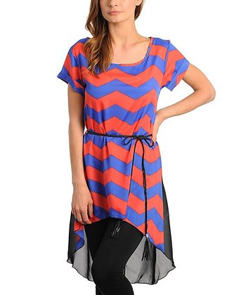 Coral & Royal Zigzag Hi-Low Tunic - Women
