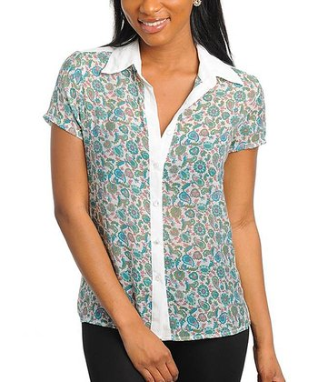 Ivory & Green Paisley Button-Up - Women