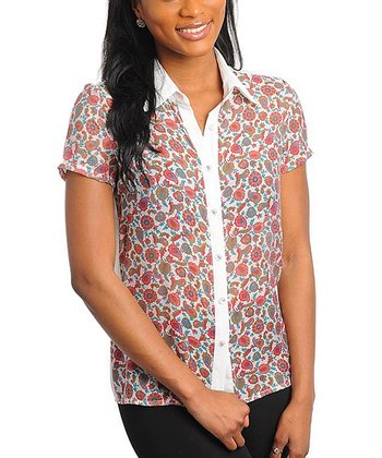 Ivory & Pink Paisley Button-Up - Women