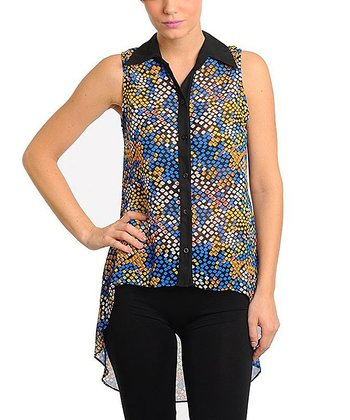 Royal Blue & Yellow Abstract Sleeveless Hi-Low Top - Women