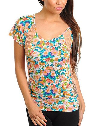 Peach & Blue Floral Lace Panel Top - Women