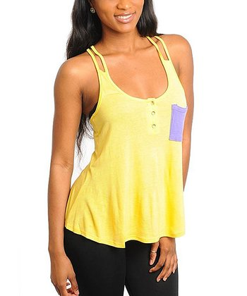 Yellow & Purple Cutout Strap Tank - Women