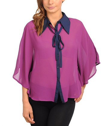 Purple & Navy Sheer Chiffon Cape-Sleeve Top - Women