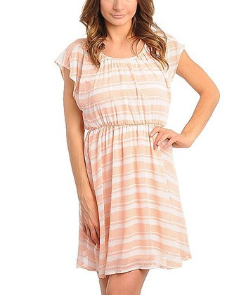 Peach & Ivory Stripe Dress - Women