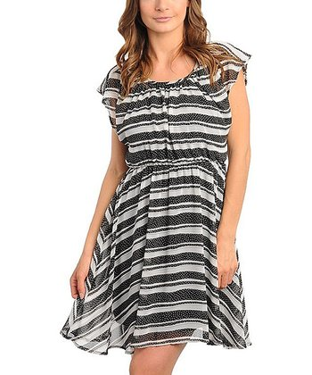 Black & Ivory Stripe Dress - Women