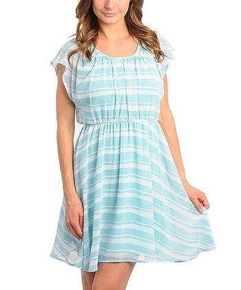 Light Blue & White Stripe Dress - Women