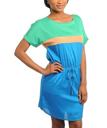 Turquoise & Green Color Block Dress - Women