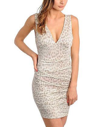 Gray Leopard V-Neck Dress - Women