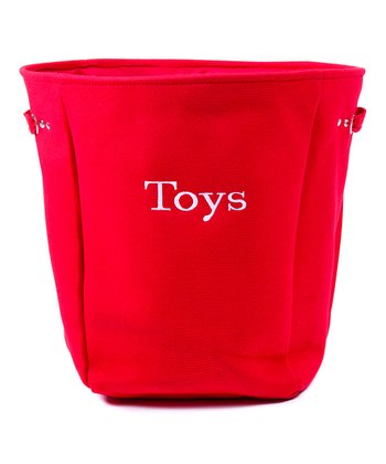 Red 'Toys' Canvas Storage Basket