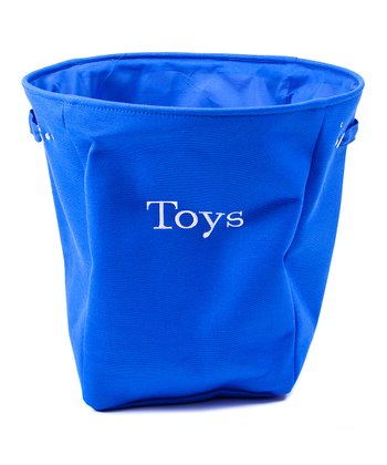 Blue 'Toys' Canvas Storage Basket
