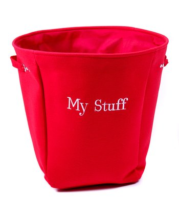 Red 'My Stuff' Canvas Storage Basket