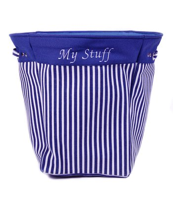 Blue Stripe 'My Stuff' Canvas Storage Basket