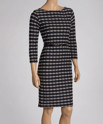 Navy & Taupe Belted Boatneck Dress