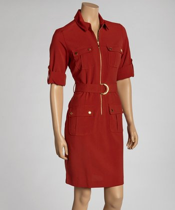 Burnt Orange Belted Shirt Dress