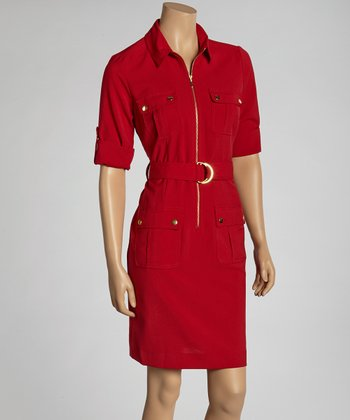 Crimson Belted Shirt Dress