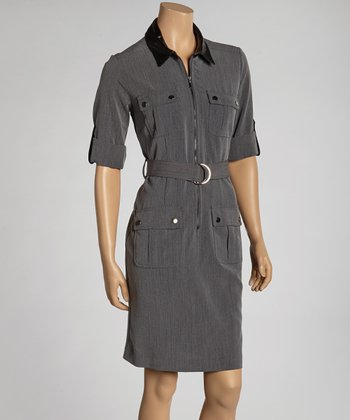 Charcoal Belted Shirt Dress
