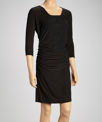 Black Ruched Three-Quarter Sleeve Dress