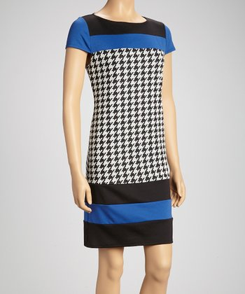 Blue Color Block Houndstooth Jersey Shift Dress