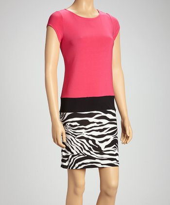 Fuchsia & Zebra Color Block Drop-Waist Dress