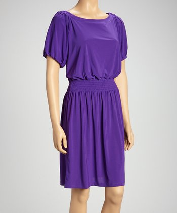 Purple Shirred Peasant Dress