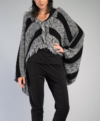 Black & White Sidetail Wool-Blend Poncho